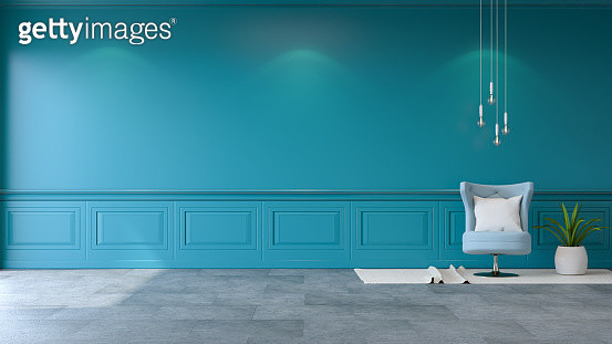 Cushion Of Chair By Blue Wall At Home - gettyimageskorea