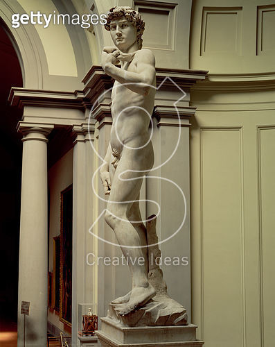 <b>Title</b> : David, 1501-04 (marble)<br><b>Medium</b> : marble<br><b>Location</b> : Galleria dell' Accademia, Florence, Italy<br> - gettyimageskorea