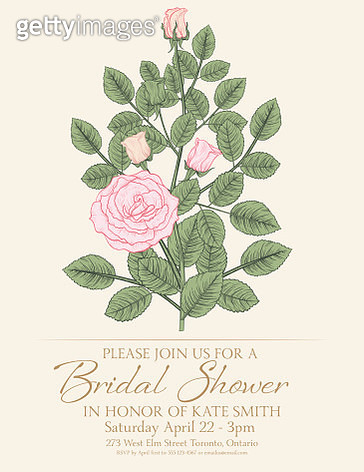 Botanical Style Roses Greeting Card or Invitation Template - gettyimageskorea