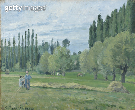 <b>Title</b> : Haymaking, 1874 (oil on canvas)Additional InfoLandscape at Eragny;<br><b>Medium</b> : oil on canvas<br><b>Location</b> : Fitzwilliam Museum, University of Cambridge, UK<br> - gettyimageskorea