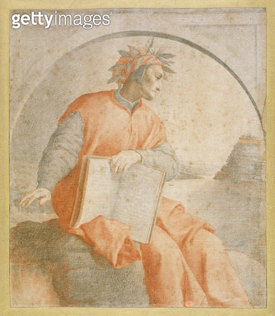 <b>Title</b> : No.1176 Portrait of Dante, copy (chalk)<br><b>Medium</b> : red and black chalk on paper<br><b>Location</b> : Fitzwilliam Museum, University of Cambridge, UK<br> - gettyimageskorea