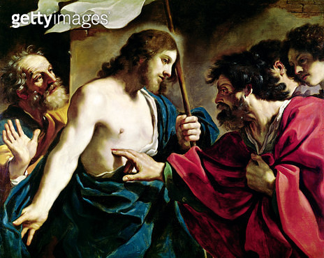 <b>Title</b> : The Incredulity of St. Thomas (oil on canvas)<br><b>Medium</b> : oil on canvas<br><b>Location</b> : Vatican Museums and Galleries, Vatican City, Italy<br> - gettyimageskorea