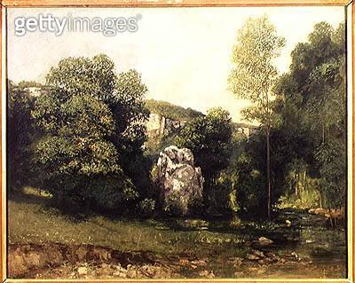 <b>Title</b> : The stream of the Breme emerging from the Puits Noir, 1865 (oil on canvas)Additional InfoLa Breme a la sortie du Puits-Noir;<br><b>Medium</b> : oil on canvas<br><b>Location</b> : Musee des Beaux-Arts et d'Archeologie, Besancon, France<br> - gettyimageskorea