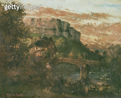 <b>Title</b> : The Bridge at Nahin, 1868 (oil on canvas)<br><b>Medium</b> : oil on canvas<br><b>Location</b> : Musee-Maison Natale Gustave Courbet, Ornans, France<br> - gettyimageskorea