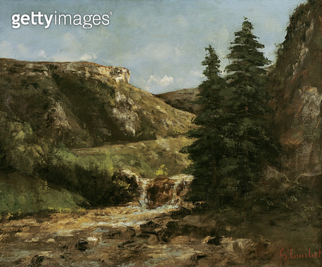 <b>Title</b> : Landscape near Ornans, c.1858 (oil on canvas)<br><b>Medium</b> : oil on canvas<br><b>Location</b> : Musee-Maison Natale Gustave Courbet, Ornans, France<br> - gettyimageskorea