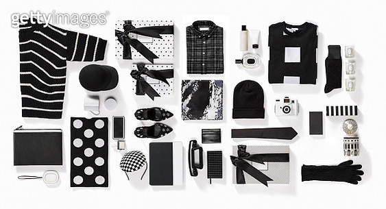 Luxury fashionable clothing and stationery items flat lay on white background - gettyimageskorea