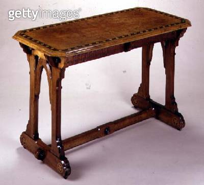 Walnut and marquetry table with two drawers/ from a design by A.W.N. Pugin (1812-52) - gettyimageskorea
