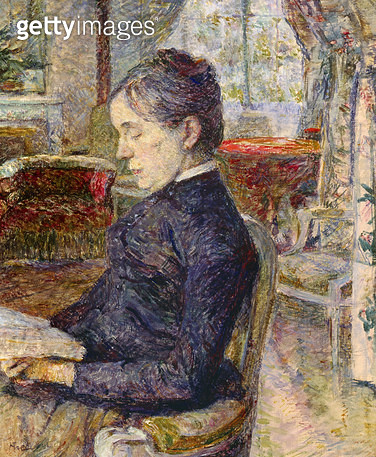<b>Title</b> : Adele Tapie de Celeyran (1840-1930) Countess of Toulouse-Lautrec-Monfa in the Salon of Chateau de Malrome, 1887 (oil on canvas)<br><b>Medium</b> : oil on canvas<br><b>Location</b> : Musee Toulouse-Lautrec, Albi, France<br> - gettyimageskorea