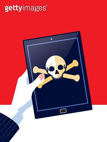 Businessman Holding Digital tablet with Skull and Crossbones - gettyimageskorea