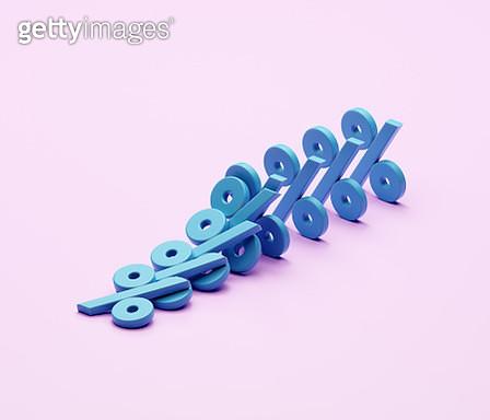 Percentage signs falling like dominoes - gettyimageskorea