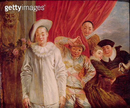 <b>Title</b> : Actors of the Comedie Italienne (oil on canvas)<br><b>Medium</b> : oil on canvas<br><b>Location</b> : Musee d'Art et d'Archeologie, Moulins, France<br> - gettyimageskorea