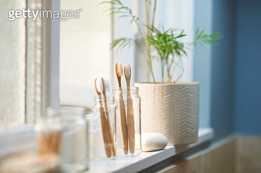 Zero waste plastic free products on bathroom window sill. - gettyimageskorea