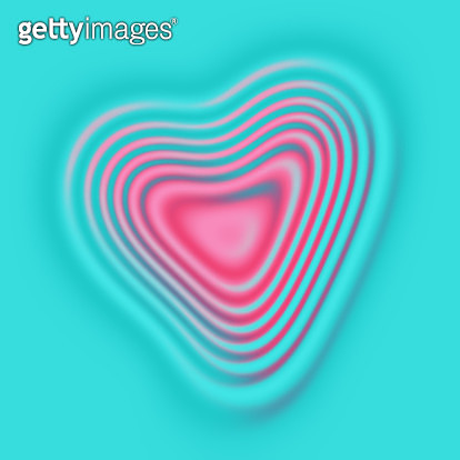 Abstract pink rippled heart on aqua background - gettyimageskorea