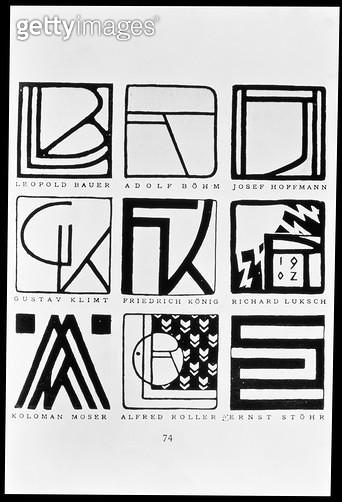 <b>Title</b> : Monograms of nine Jugendstil artists: Leopold Bauer, Adolf Bohm (1861-1927), Josef Hoffmann (1870-1956), Gustav Klimt (1862-1918<br><b>Medium</b> : <br><b>Location</b> : Osterreichische Nationalbibliothek, Vienna, Austria<br> - gettyimageskorea