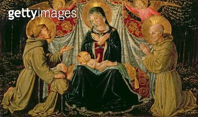 <b>Title</b> : Madonna and Child with St. Francis and the donor Fra Jacopo da Montefalco (left) and St. Bernardino of Siena (right), c.1452 (pa<br><b>Medium</b> : oil on panel<br><b>Location</b> : Kunsthistorisches Museum, Vienna, Austria<br> - gettyimageskorea