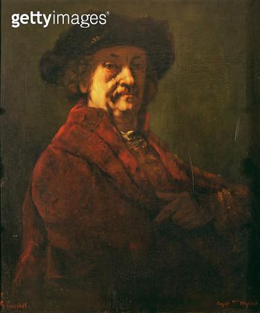 <b>Title</b> : Copy of a Rembrandt Self Portrait, 1869 (oil on canvas)Additional InfoRembrandt Harmensz van Rijn (1606-69) Dutch painter; Autop<br><b>Medium</b> : <br><b>Location</b> : Musee des Beaux-Arts et d'Archeologie, Besancon, France<br> - gettyimageskorea