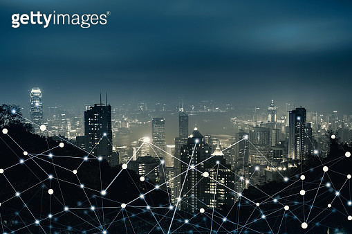 Network City Digital Connection Technology Concept - gettyimageskorea