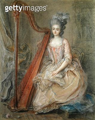 <b>Title</b> : Presumed Portrait of Madame de Genlis Playing a Harp, 1770s (pastel on paper)Additional InfoStephanie de Genlis (1746-1830) reno<br><b>Medium</b> : pastel on paper<br><b>Location</b> : Private Collection<br> - gettyimageskorea