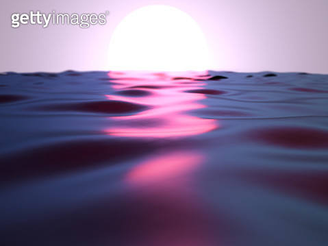 Beautiful surreal sunrise over the sea made with digital computer graphics. - gettyimageskorea