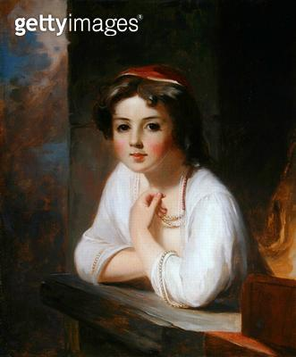 <b>Title</b> : Portrait of a Peasant Girl, 1857 (oil on canvas)Additional Infocopy of Rembrandt portrait in Dulwich;<br><b>Medium</b> : oil on canvas<br><b>Location</b> : Private Collection<br> - gettyimageskorea
