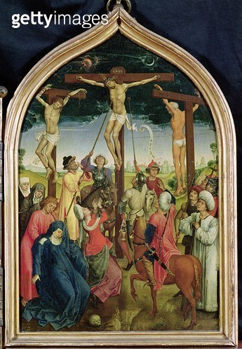 <b>Title</b> : Diptych of Jeanne of France, right panel depicting the Crucifixion, 1452-70 (oil on panel) (see also 173920 & 24953)Additional I<br><b>Medium</b> : oil on panel<br><b>Location</b> : Musee Conde, Chantilly, France<br> - gettyimageskorea