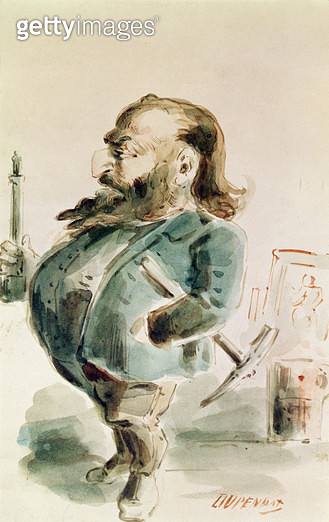 <b>Title</b> : Caricature of Gustave Courbet (1819-77) holding the Colonne de Vendome (w/c on paper)Additional Infocopy of Trajan's column in R<br><b>Medium</b> : watercolour on paper<br><b>Location</b> : Musee d'Art et d'Histoire, Saint-Denis, France<br> - gettyimageskorea