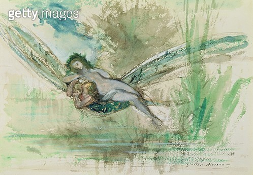 <b>Title</b> : Dragonfly, c.1884 (w/c on paper)<br><b>Medium</b> : watercolour on paper<br><b>Location</b> : Musee Gustave Moreau, Paris, France<br> - gettyimageskorea