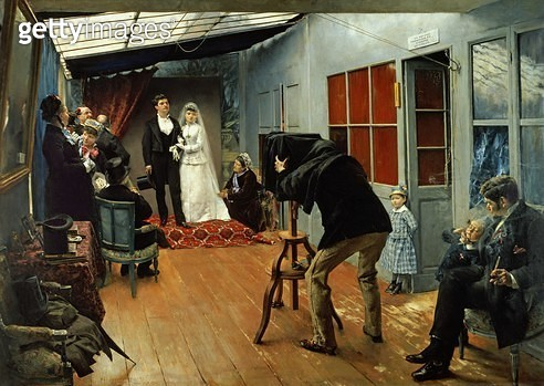 <b>Title</b> : Wedding at the Photographer's, 1878-9 (oil on canvas)<br><b>Medium</b> : oil on canvas<br><b>Location</b> : Musee des Beaux-Arts, Lyon, France<br> - gettyimageskorea