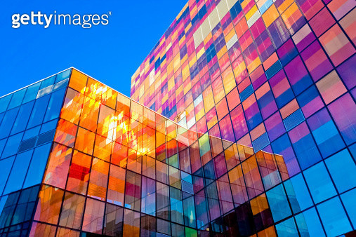 Multi-colored glass wall - gettyimageskorea