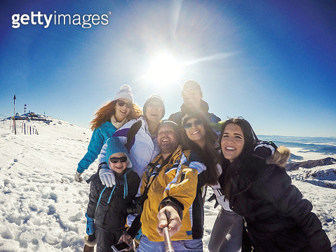 Winter selfie at the top of mountain - gettyimageskorea