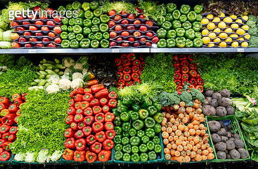 Delicious fresh vegetables and fruits at the refrigerated section of a supermarket - gettyimageskorea