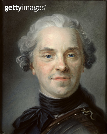 <b>Title</b> : Portrait of Maurice, Comte de Saxe (1696-1750) 1747 (pastel)<br><b>Medium</b> : pastel<br><b>Location</b> : Musee Antoine Lecuyer, Saint-Quentin, France<br> - gettyimageskorea