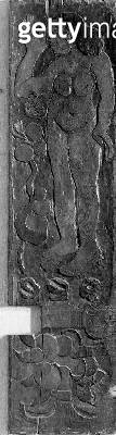 <b>Title</b> : Carved vertical panel from the door frame of Gauguin's final residence in Atuona on Hiva Oa (Marquesas Islands), 1902 (sequoia)<br><b>Medium</b> : sequoia<br><b>Location</b> : Musee d'Orsay, Paris, France<br> - gettyimageskorea