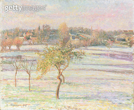 <b>Title</b> : White Frost at Eragny, 1895 (oil on canvas)Additional InfoGelee Blanche a Eragny;<br><b>Medium</b> : oil on canvas<br><b>Location</b> : Private Collection<br> - gettyimageskorea