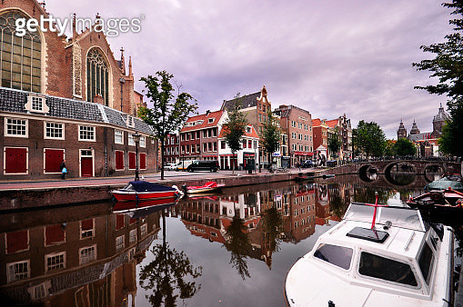 Wide angle view of old town Amsterdam, Netherlands - gettyimageskorea