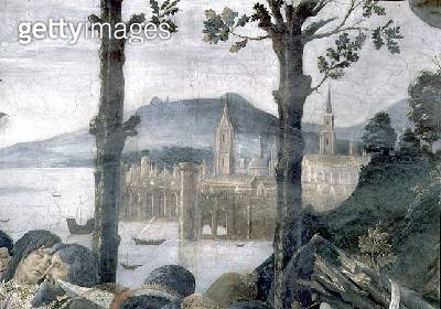 <b>Title</b> : The Purification of the Leper and the Temptation of Christ, in the Sistine Chapel: detail of an imaginary port city in a landsca<br><b>Medium</b> : fresco<br><b>Location</b> : Vatican Museums and Galleries, Vatican City, Italy<br> - gettyimageskorea