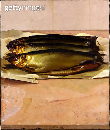 Seven smoked fish on a grinding slab/ 1992 (oil on linen) - gettyimageskorea