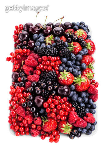 Assorted plate of fresh berries, on white background, cut out - gettyimageskorea