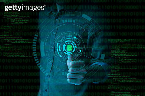 Businessman fingerprint scan provides security access with biometrics identification and password control - gettyimageskorea