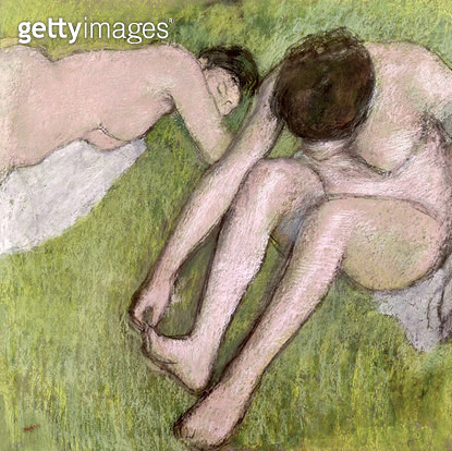 <b>Title</b> : Two Bathers on the Grass, c.1886-90 (pastel on paper)<br><b>Medium</b> : pastel on paper<br><b>Location</b> : Musee d'Orsay, Paris, France<br> - gettyimageskorea