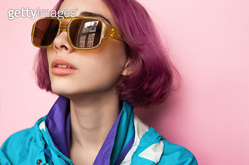 Fashion model with futuristic makeup and hairstyle - gettyimageskorea