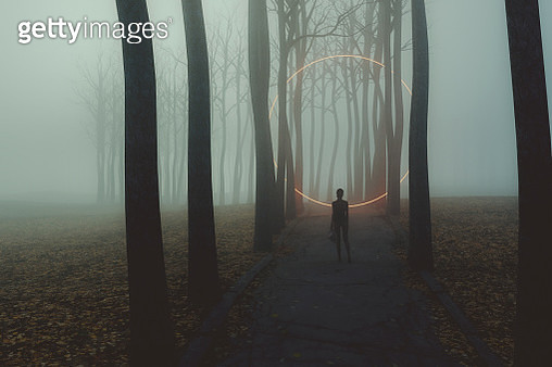 Fantasy rural road with woman standing - gettyimageskorea