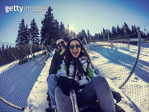 Winter fun on bobsled - gettyimageskorea