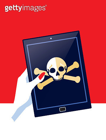Businesswoman Holding Digital tablet with Skull and Crossbones - gettyimageskorea