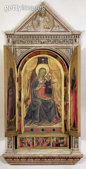 The Linaiuoli Triptych (with open shutters): The Virgin and Child enthroned with St. John the Baptist and St. Mark/ 1433 (tempera on panel) (for detail see 119416) - gettyimageskorea