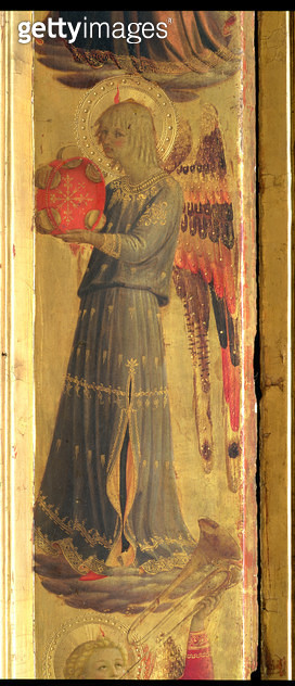 <b>Title</b> : Angel playing a Tambourine, detail from the Linaivoli Triptych, 1433 (tempera on panel)<br><b>Medium</b> : <br><b>Location</b> : Museo di San Marco dell'Angelico, Florence, Italy<br> - gettyimageskorea