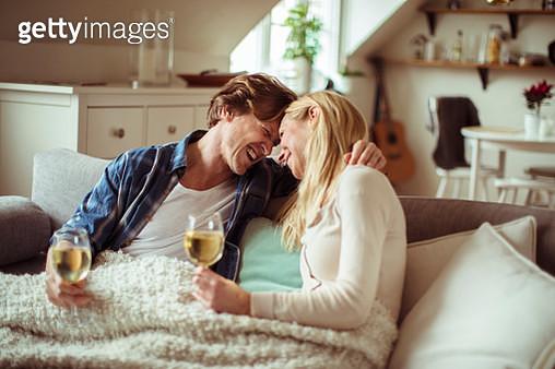 Couple having Wine - gettyimageskorea