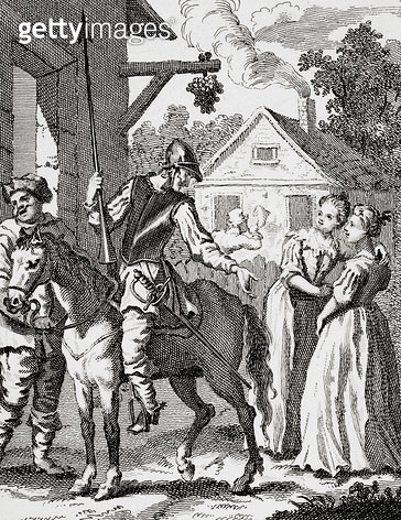 <b>Title</b> : Don Quixote and Sancho Panza at an Inn, published 1798 (engraving)<br><b>Medium</b> : <br><b>Location</b> : Private Collection<br> - gettyimageskorea