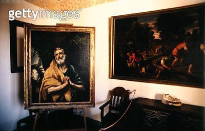 <b>Title</b> : Interior of El Greco's (1541-1614) studio (photo)Additional InfoDomenico Theotocopuli (1541-1614); El Greco; The Tears of St. Pe<br><b>Medium</b> : <br><b>Location</b> : <br> - gettyimageskorea