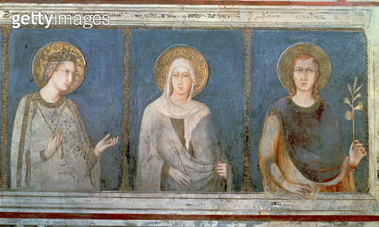 <b>Title</b> : Five Saints, detail of St. Elisabeth of Hungary, St. Clare and another saint (fresco)Additional Infofounder of the Minoresses or<br><b>Medium</b> : fresco<br><b>Location</b> : Basilica of St. Francis, Assisi, Italy<br> - gettyimageskorea